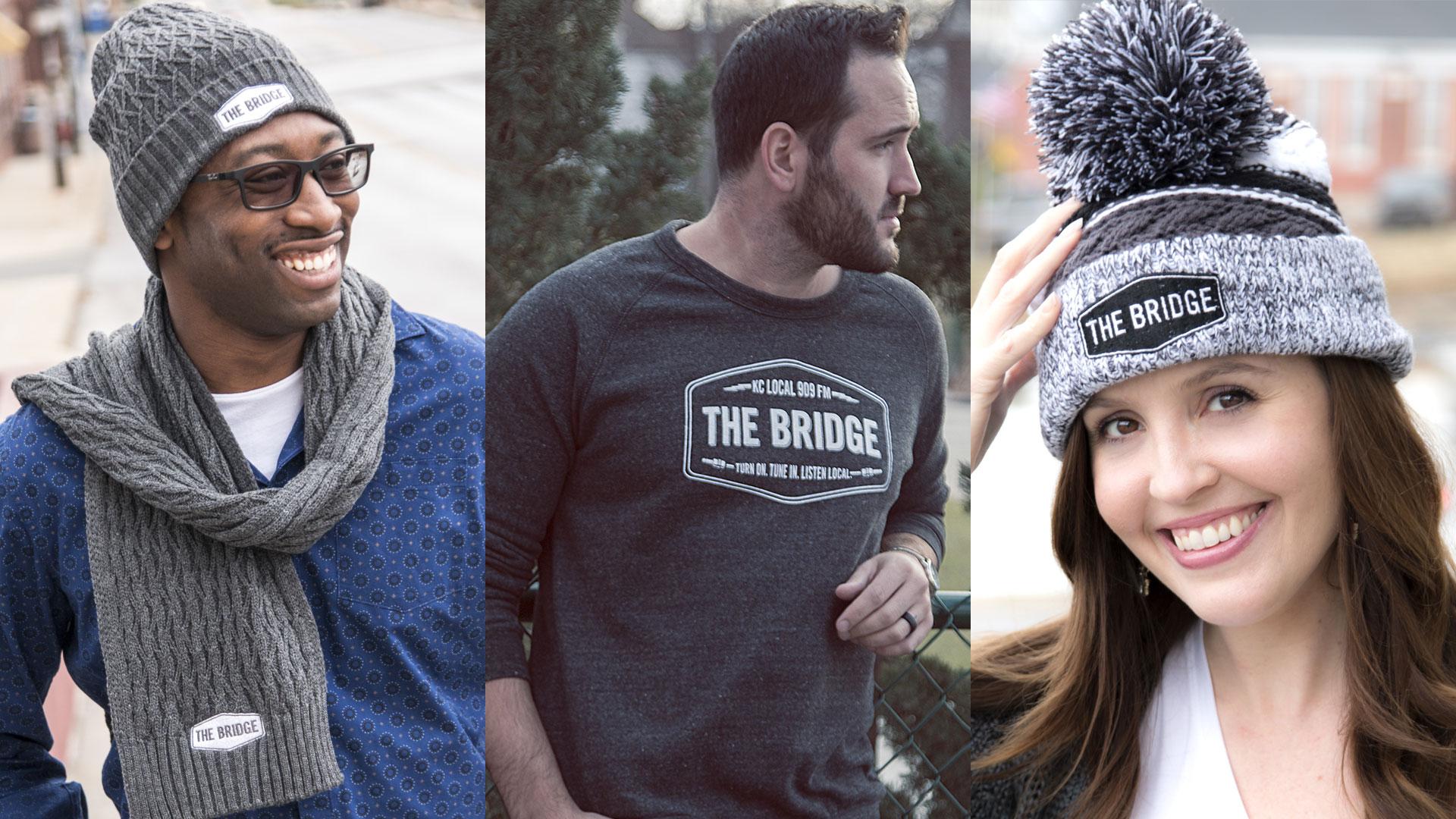 Bridge beanie and scarf set, crewneck sweatshirt and pom beanie worn by models